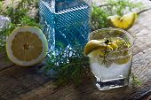 Постер, плакат: Cocktail With Blue Gin Tonic And Lemon