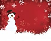 pic of snow border  - Snowman on Red Background with Snowflakes Falling around Border - JPG