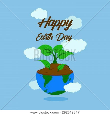 Happy Earth Day Typography With