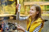 Cute Preteen Girl Roasting Marshmallows On Stick At Bonfire. Child Having Fun At Camp Fire. Camping  poster