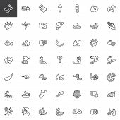 Food And Snacks Line Icons Set. Linear Style Symbols Collection, Outline Signs Pack. Vector Graphics poster