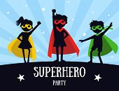 Superhero Party Banner, Cute Kids In Superhero Costumes And Masks, Birthday Invitation, Landing Page poster