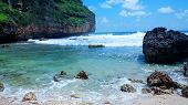 Views Of The Southern Natural Beach In The Area Of yogyakarta. This Beach Is White Sand, Next To I poster