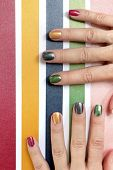 Multi-colored Mother Of Pearl Manicure On Short Nails.nail Art.nail Design Red,green,gray,beige,gold poster