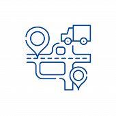 Route Navigation Line Icon Concept. Route Navigation Flat  Vector Symbol, Sign, Outline Illustration poster