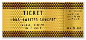 Golden Ticket Template, Concert Ticket (tear-off Ticket Mockup) On Gold And Black Background With Tr poster
