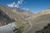 stock photo of kali  - Kali Gandaki river valley view towards Upper Mustang