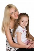 stock photo of mother daughter  - Mother and daughter isolated over white background - JPG