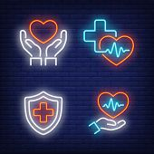Hearts, Crosses And Cardiograms Neon Signs Set. Medicine, Cardiology And Healthcare Design. Night Br poster