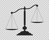Scales Of Justice. Dark Empty Scale On Transparent Background. Classic Balance Icon. Law Balance Sym poster