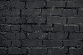 Texture Of Black Brick Wall Background. Retro Abstract Closeup Of Grunge Texture Dark Gray Brick Wal poster