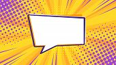 Pop Art Retro Comic Speech Bubble On Colorful Dotted And Rays Backgrounds. Comics Page, Advertisemen poster