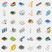 Architecture Object Icons Set. Isometric Style Of 36 Architecture Object Icons For Web For Any Desig poster