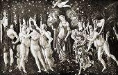 Постер, плакат: Сандро Боттичелли «La Primavera Весна » Размножение из энциклопедии «Сокровища искусства» Partne