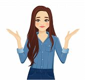 Young Frustrated Woman With Long Hair In Casual Denim Shirt Isolated Vector Illustration poster