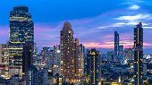 Bangkok City - Aerial View  Beautiful Sunset  Bangkok City Downtown Skyline Of Thailand , Cityscape  poster
