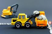 Diorama Road Construction With Yellow Construction Machinery Models poster