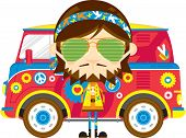 Cute Cartoon Hippie In Sunglasses With Van poster