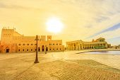 Scenic Sunset Sky Landscape Of Katara Cultural Village Or Valley Of Cultures In Doha, West Bay Distr poster