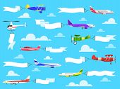 Plane Banners. Sky Banner Airplane Flying Planes Helicopter Ribbon Flight Message Pull Advertisement poster