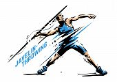 Javelin-throwing. Dynamic Pause. Sport Vector Illustration For Print poster