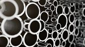 Industry Business Production And Heavy Metallurgical Industrial Products, Many Shiny Steel Pipes, In poster