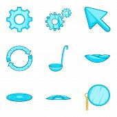 Celestial Blue Icons Set. Cartoon Set Of 9 Celestial Blue Icons For Web Isolated On White Background poster