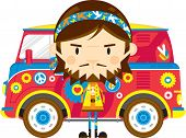 Cute Cartoon Hippie And Camper Van Illustration poster