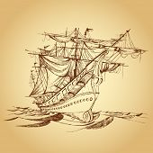 foto of pirate ship  - illustration of drawing of historical ship on paper - JPG