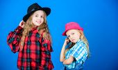 Expressing Who They Are From The Inside. Little Sisters With Adorable Fashion Look. Small Cute Fashi poster