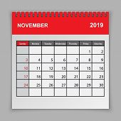 Calendar Planner Design Template. November 2019 Year . Vector Illustration poster