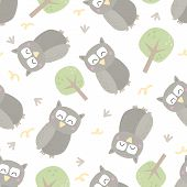 Seamless Pattern With Colorful Funny Owls. Funny Owl Vector Illustration. poster