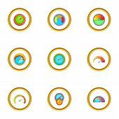 Circular Meter Icons Set. Cartoon Style Set Of 9 Circular Meter Icons For Web Design poster