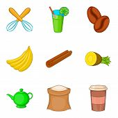 Beverage With Filling Icons Set. Cartoon Set Of 9 Beverage With Filling Icons For Web Isolated On Wh poster