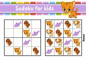 Sudoku For Kids. Education Developing Worksheet. Activity Page With Pictures. Puzzle Game For Childr poster