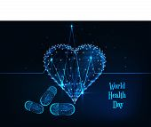 World Health Day Banner With Glowing Low Polygonal Heartbeat Line, Heart Symbol, Pills And Text . poster