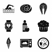 Calorie Icons Set. Simple Set Of 9 Calorie Icons For Web Isolated On White Background poster