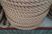 A Large Number Of The Twisted Ropes In A Roll. A Thick Rope On A Counter Of Shop. Sale Of Various Ro poster