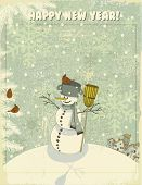 pic of snowy hill  - Vintage Christmas and New Year Greeting Card  - JPG