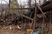 ANDOVER, NJ - OCT 30: A child's playset smashed by a large tree after Hurricane Sandy made landfall
