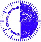stock photo of daylight-saving  - Spring ahead 1 hour daylight savings time rubber stamp - JPG