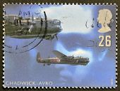 UNITED KINGDOM - CIRCA 1997: stamp printed in Great Britain featuring RAF Avro night bomber aircraft