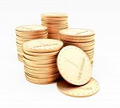 A stacks of coins isolated on white background
