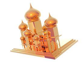pic of mumtaj  - 3D illustration of gold Taj Mahal isolated over white - JPG