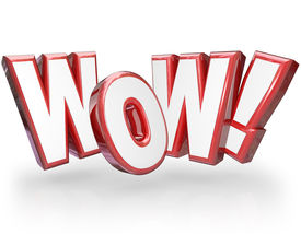 stock photo of shock awe  - The word Wow in big red 3D letters to show surprise and astonishment at something amazing - JPG