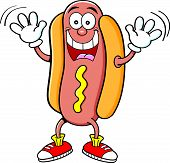 Cartoon hotdog waving