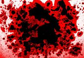picture of mayhem  - Blood splatter background red and black on white - JPG