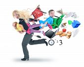 foto of single woman  - A mother is late for school and work and rushing with her children for a funny stress concept on a white isolated background - JPG