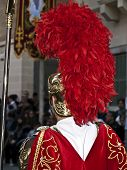 stock photo of spqr  - Roman centurion uniform tunic and crest detail - JPG