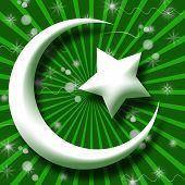 stock photo of sufi  - White Islam symbol in green bust Burst and Sparkle - JPG